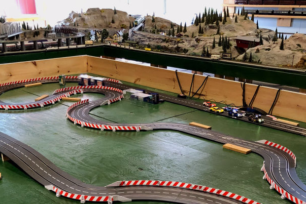 the slot car tracks and train layout at French Woods Camp
